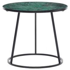 Konferenční stolek Thallo s mramorovou deskou a černě lakovovanou kovovou podnoží