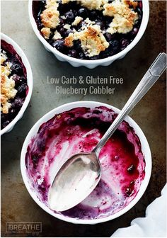 This easy gluten free and low carb blueberry cobbler has all the flavors of summer packed into it for less than 100 calories per serving!