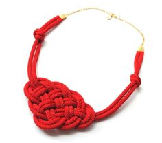 Red Knotted Necklace Rope Jewelry, Nautical Style, Big Sailor's Knot, Summer Trends. $19.00, via Etsy.