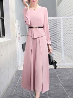 Fanny Wiz Elegant Two Pieces Top With Wide-leg Pants Set Elegant Dresses Classy, Elegant Outfit, Classy Dress, Classy Outfits, 60 Fashion, Abaya Fashion, Fashion Sewing, Fashion Dresses, Indian Designer Outfits