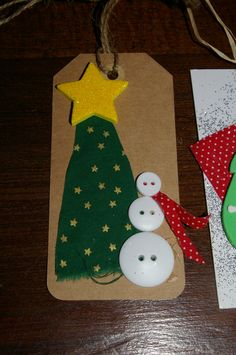 Fabric scrap tree, 'foamy' star, and button snowman.  So easy and so much fun to make!