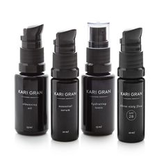 This Mini Kit is a great way to try the Kari Gran signature four-part skin care system: a simple, elegant solution that works for any age and skin type. The kit includes an ample two-week supply of Cleansing Oil, Essential Serum, Three Sixty Five SPF 28, and Lavender or Rose Hydrating Tonic — perfectly sized for travel