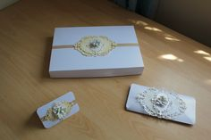 Box for Golden Wedding Anniversary Card & Matching Gift Tag and Voucher Wallet all made by me for my In-Laws Anniversary