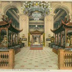 CENTENNIAL FUN FACT: After the 1876 Centennial Exhibition, Memorial Hall became home to the Pennsylvania Museum--the beginnings of the Philadelphia Museum of Art. Check out this great postcard photograph of the South Foyer/Main Entrance when Memorial Hall was the Pennsylvania Museum!