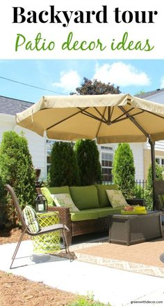 Fun patio decorating and landscaping ideas! I love all the patio furniture they have! What a great outside entertaining space. Green With Decor Outdoor Spaces, Outdoor Living, Rustic Outdoor Decor, Patio Decorating Ideas On A Budget, Decorating Tips, Decor Ideas, Patio Umbrellas, Toscana, Rustic Style