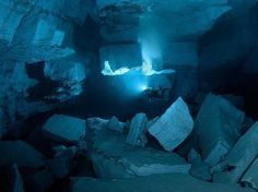 The Orda Cave in Russia's Ural Mountains is the biggest underwater gypsum crystal cave in the world, with air temperatures that can reach less than °F. The gypsum filters the water, which is why it's so transparent. Cave Diving, Scuba Diving, Gypsum Crystal, Ural Mountains, Underwater Caves, Crystal Clear Water, Photography Gallery, Planet Earth, Explore
