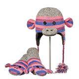 Stripe Sock Monkey Purple Animal Hat & Mittens Set   Knitwits Animal Hats