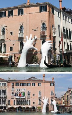 "Lorenzo Quinn's monumental installation ""Support"" was installed in advance of the Venice Biennale, which opens in June."