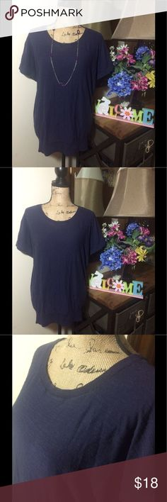 Ann Taylor Loft Deep Purple Short Sleeve Shirt Ann Taylor Loft Deep Purple Short Sleeve Shirt; gently used and is in good condition 💜 size XL *please note that necklace is for display/decoration only LOFT Tops Tees - Short Sleeve