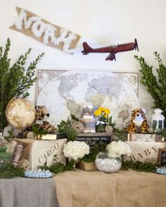 Check out this terrific travel safari baby shower party! See more party planning ideas at CatchMyParty.com!