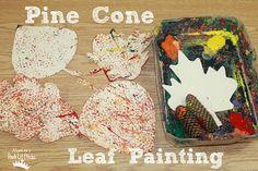 Mom to 2 Posh Lil Divas: Pine Cone Leaf Painting Fall Preschool Activities, Preschool Gifts, Preschool Art, Art Activities, Kindergarten Art, Toddler Preschool, Fall Crafts For Kids, Toddler Crafts, Art For Kids
