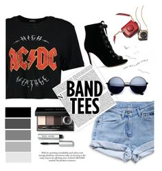 """""""Band Tees FTW"""" by valmatsier ❤ liked on Polyvore featuring Bobbi Brown Cosmetics, Gianvito Rossi and Levi's"""