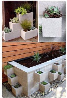 Cinderblock planters. Concrete block planters.