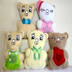 """""""Huggable Bears 1"""" You get designs to create 5 adorable bears you can stitch and stuff! Easy to make, in the hoop, with instructions. Makes a great, huggable gift too!"""