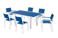 POLYWOOD® Euro 7-Piece Dining Set by POLYWOOD®. $2089.93. Available in 7 aluminum frame and slat color combinations. Made in the USA. Solid- heavy-duty construction withstands nature's elements. Set includes four A100 Euro Dining Side Chairs- two A200 Euro Dining Arm Chairs- and one AT3672 Euro 36in x 72in Dining Table. Eco-friendly production with over 90% recycled materials. Euro 7-Piece Dining Set in Gloss White Aluminum Frame / Pacific Blue