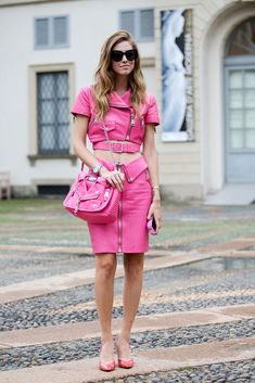 A Barbie look, fresh out the box off the runway. #refinery29 http://www.refinery29.com/2014/09/74945/milan-fashion-week-2014-street-style#slide-54
