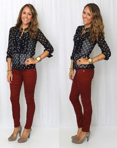 Burgundy pants- I really like this outfit!!