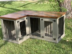 Pam's L-Shape Corner Dog Kennel In Hammered Pewter and American Walnut - Texas C. Pam's L-Shape Corner Dog Kennel In Hammered Pewter and American Walnut – Texas Custom Kennels Custom Dog Kennel, Wooden Dog Kennels, Dog Kennel Designs, Diy Dog Kennel, Indoor Dog Kennels, Kennel Ideas, Wooden Dog Crate, Diy Dog Crate, Dog Crate Cover