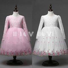 Flower-Girl-Kid-Toddler-Wedding-Long-Sleeve-Baptism-Dress-Princess-Skirt-SZ-4-8Y