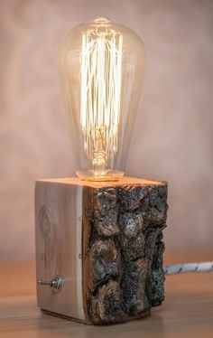 Wooden lamp, Edisson bulb
