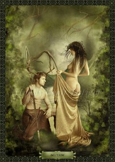 Man and women in sensual moment in nature, she removes her dress. For Beltane ritual love.