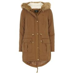 Dorothy Perkins Tan Faux Fur Hooded Parka ($59) ❤ liked on Polyvore featuring outerwear, coats, jackets, brown, faux fur hood coat, brown parka, tan coat, dorothy perkins and parka coat