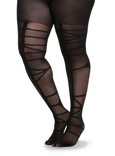 These sexy sheer black tights have a cool abstract stripe print on them.