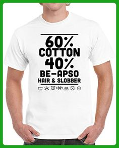 Be-Apso Hair and Slobber Washing Label Parody Funny Dog Pet Lover Unisex T-shirt S White - Animal shirts (*Amazon Partner-Link)