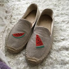 Soludos watermelon slippers Must have in summer! Like new ! Size6 fit exact the size! Shirt and shorts also listing! Check out my closet! Soludos Shoes Slippers