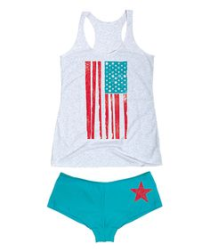 Look at this Heather White Distressed American Flag Tank & Turquoise Hipster on #zulily today!