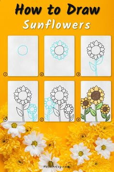 Flower Drawing For Kids, Simple Flower Drawing, Easy Flower Drawings, Flower Drawing Tutorials, Sunflower Drawing, Simple Flowers, Easy Drawings, Flower Drawing Tutorial Step By Step, Learn To Draw
