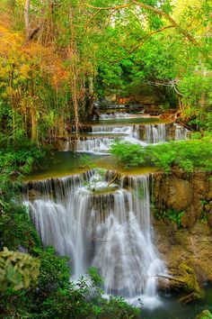 Beautiful Waterfall Photos Beautiful Waterfall in deep tropical forest. by Pushish Images Beautiful World, Beautiful Places, Beautiful Pictures, Beautiful Nature Wallpaper, Beautiful Landscapes, Sunset Photography, Landscape Photography, Waterfall Photo, Waterfall Scenery