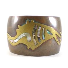 Vintage Abstract Copper Brass Cuff Bracelet With Abalone Shell Inlay Vintage Mechoen Mexico Jewelry by paleorama on Etsy