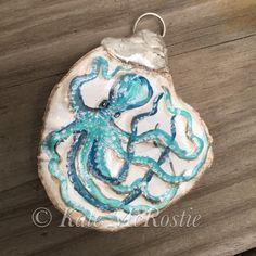 Octopus ornament Kate McRostie coastal by KateMcRostieHandmade Nautical Christmas, Beach Christmas, Seashell Ornaments, Seashell Painting, Shell Art, Seashells, Octopus, Special Gifts, Pumpkins