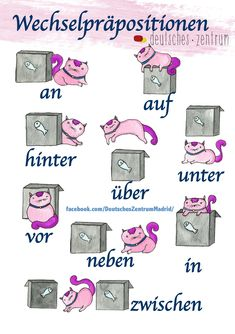 - Wechselpräpositionen / Deutsch / German / alemán / Wortschatz / Vocabulario / DAF / Grammatik / g - German Language Learning, Learn A New Language, Learning Spanish, Spanish Activities, Learning Italian, Study German, German English, German Grammar, German Words