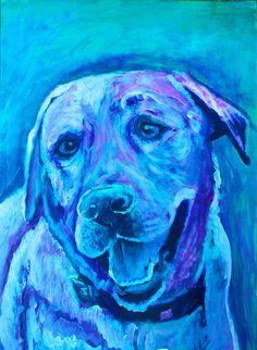 Labrador painting dog art print, Colorful dog portrait, Gift for Labrador owner, Blue Lab, Labrador painting, Colorful dog… #dogs #etsy #art