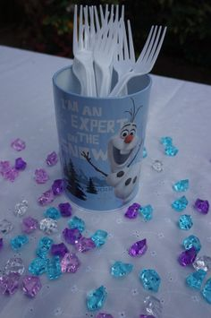 1 disney frozen olaf tin bank table decoration birthday party centerpiece favors cake gift decor - Frozen Halloween Decorations
