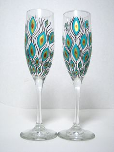 Painted Champagne Flutes Peacock Feathers by PrettyMyDrink on Etsy, $45.00