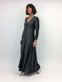 vintage black and silver long sleeve maxi dress xs small