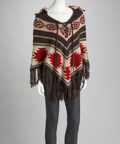 Take a look at this Gray & Red Native Poncho by Montanaco on #zulily today!
