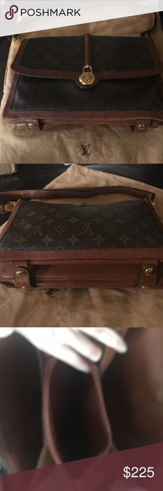 Authentic Louis Vuitton Monogram Vintage Pochette Great bag, it was well loved but still has tons of life left. Monogram Canvas is in GREAT shape and inside too. Trim needs some TLC/minor repairs. The strap needs to be reinforced on one side&the middle trim needs to be glued back together. Edges could use polishing too but this bag is @40 years old and it WILL last 40 more if it's fixed up & taken care of! Inside has 3 large separate expandable compartments w middle one zipping Closed. Front…
