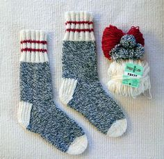 Winter Socks for the Family is a top down sock pattern with a heel flap and gusset, written for use with 5 DPNs. A wool& blend aran or heavy worsted weight sock yarn is recommended for warmth and durability. Uses Aran weight yarn Crochet Socks, Knitted Slippers, Knit Or Crochet, Knitting Socks, Free Crochet, Knit Socks, Knitted Socks Free Pattern, Yarn Projects, Knitting Projects