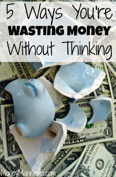 Can't save money? Want to stop wasting money and give frugal living a try? I share 5 money saving tips about how you are wasting money in your life every week. You can use these ideas to stop spending and start saving for an emergency fund! You don't even have to start budgeting! (#3 is soooo true)