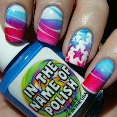 IG: @elh_nails Polishes used #inthenameofpolish Tiffany Locket, Sinful Colors Ruby Ruby and Snow me White #stars vinyls are from #twinkledt #polish #nailpolish #nails
