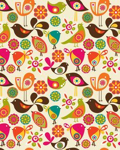 Little Birds by Valentina Ramos. Looking for some funky wallpaper to go on the underside of my staircase. Bird Patterns, Textures Patterns, Print Patterns, Art Amour, Wal Art, Bird Canvas, Illustration Blume, Motifs Animal, Fabric Birds