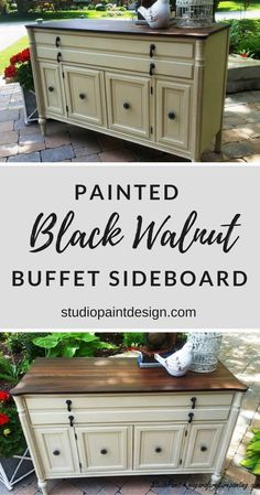 Painted Black Walnut Buffet Sideboard, Painted Furniture, Annie Sloan, Antique Walnut Gel Stain, Distressed, Ideas, DIY, Inspiration, Before and After #paintedfurniture #paintedbuffet #paintedsideboard #anniesloan #distressedfurniture #furnitureideas #fur