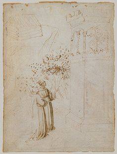 Fra (Guido di Pietro) Angelico (Italian, ca. 1395–1455) ~ A Dominican Friar (Petrus de Cruce?) and a Companion below the Dragon's Tower ~ ca.1417-20 ~ Pen and brush with brown ink, on parchment ~ Metropolitan Museum of Art ~ This illustration is one of two from the same roll that may be attributed to the young Fra Angelico, both being markedly distinct in figural style and technique. The image might refer to the tower where, according to popular belief, the dragon's victims awaited their…