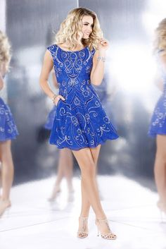 1081 Fit To Flare Embellished Homecoming Dress