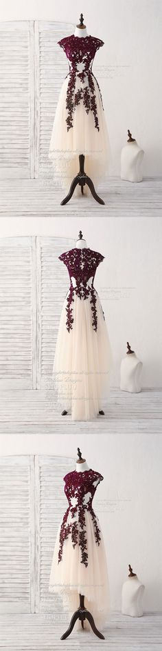 Burgundy lace tulle high low prom dress burgundy bridesmaid dress