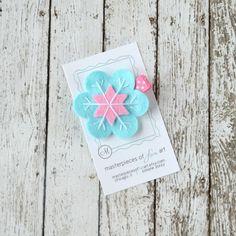 Aqua and Hot Pink Felt Snowflake Hair Clip by MasterpiecesOfFunArt